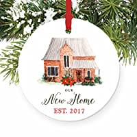 """Our New Home Ornament Est. 2017, 1st Christmas in New House Ornament, First Christmas in our Home, 3"""" Flat Circle Christmas Porcelain Ornament Glossy Glaze, Red Ribbon & Free Gift Box 