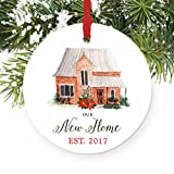"Our New Home Ornament Est. 2017, 1st Christmas in New House Ornament, First Christmas in our Home, 3"" Flat Circle Christmas Porcelain Ornament Glossy Glaze, Red Ribbon & Free Gift Box 