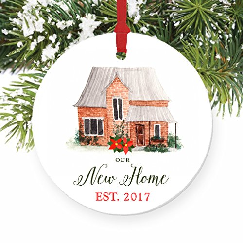 Our New Home Ornament Est. 2017, 1st Christmas in New House Ornament, First Christmas in our Home, 3 Flat Circle Christmas Porcelain Ornament Glossy …