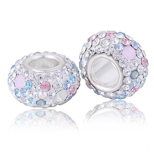 92f3a855c ... denmark 925 sterling silver core 4.5mm hole opal with pink white blue  swarovski crystals charm