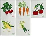Wet-It Swedish Dishcloths Set of 5 Vegetable (Onions, Carrots, Corn, Radish & Tomatos)