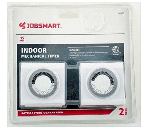 Jobsmart 15 Amp Indoor Mechanical Timer Set of 2 Programmable Timers on 24 HR