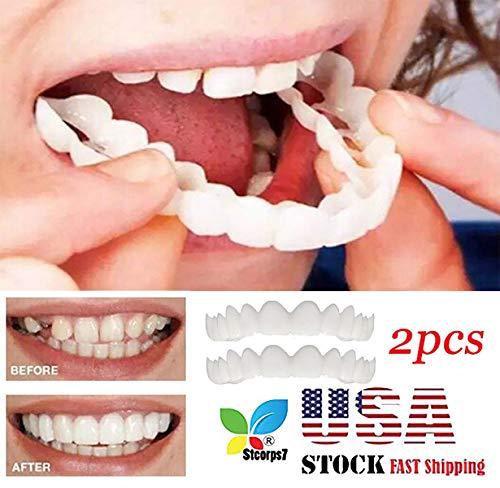 Veneers Snap in Teeth, STCORPS7 Braces Instant Smile Veneers Dentures Fake Teeth Smile Serrated Denture Teeth Top and Bottom Comfort Fit Flex Teeth Socket to Make White Tooth Beautiful Neat