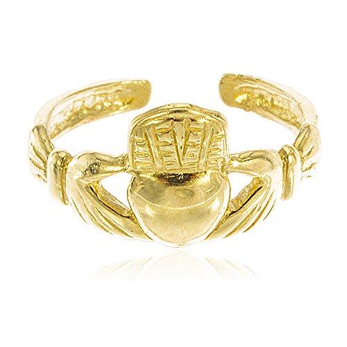 JOTW 14K Yellow Gold Irish Claddagh Toe Ring (GO-1898)