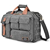 LOKASS 17.3 Inches Laptop Bag Canvas Messenger Bag Business Travel Shoulder Bag Large Capacity Computer Briefcase Multifuntional Outdoor Bag for Men/Women/College (Grey)