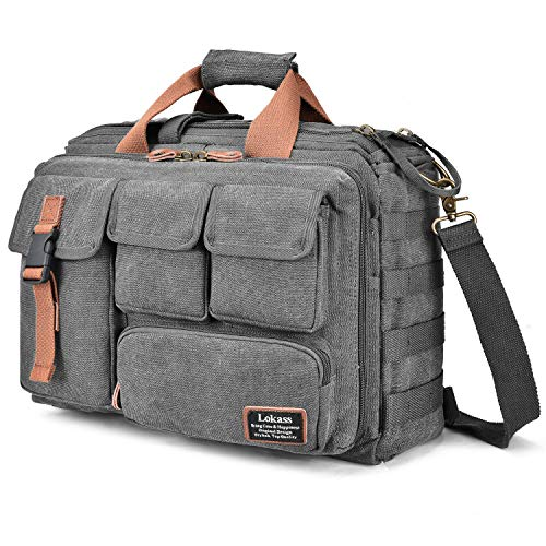 Computer Field Bag - LOKASS 17.3 Inches Laptop Bag Canvas Messenger Bag Business Travel Shoulder Bag Large Capacity Computer Briefcase Multifuntional Outdoor Bag for Men/Women/College (Grey)