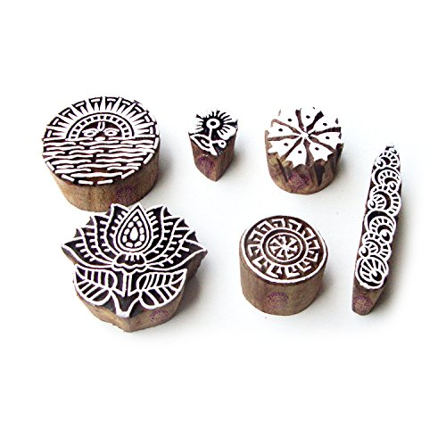 Sun and Lotus Hand Carved Designs Wooden Printing Stamps (Set of 6) ()