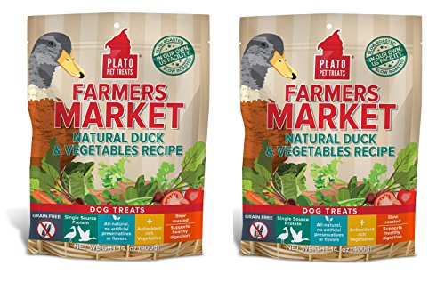 Plato Duck Natural Strips (PLATO Dog Treats -Farmers Market Natural Duck and Vegatables Real Strips- 14 oz (2 Pack))