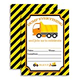 Amanda Creation Construction Dump Everything Dump Truck Birthday Party Fill in Style Invitations set of 20 with envelopes