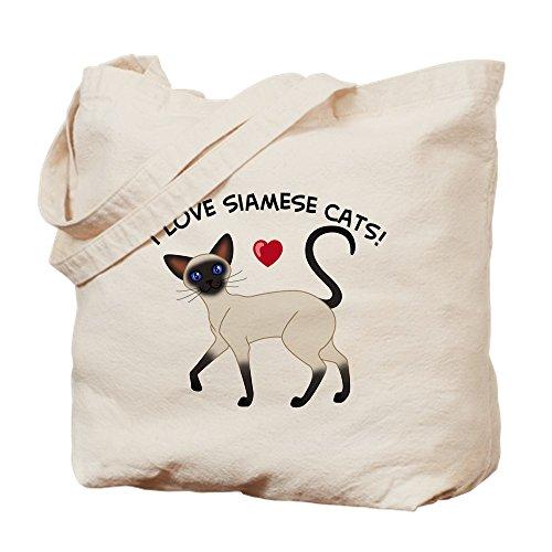 (CafePress Love Siamese Seal Natural Canvas Tote Bag, Cloth Shopping Bag)