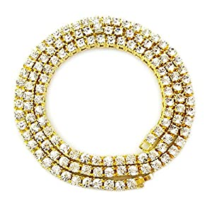 HH Bling Empire Mens Hip Hop Iced Out 14k Gold CZ Diamond Chain Necklace Jewelry