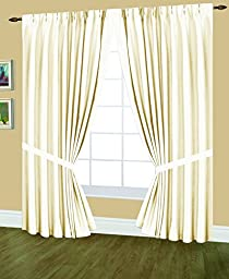 Editex Home Textiles Elaine Lined Pinch Pleated Window Curtain, 96 by 95-Inch, Beige
