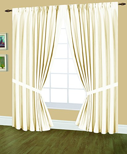 Pinch Pleated Drapery Panels (Editex Home Textiles Elaine Lined Pinch Pleated Window Curtain, 48 by 63-Inch, Beige)