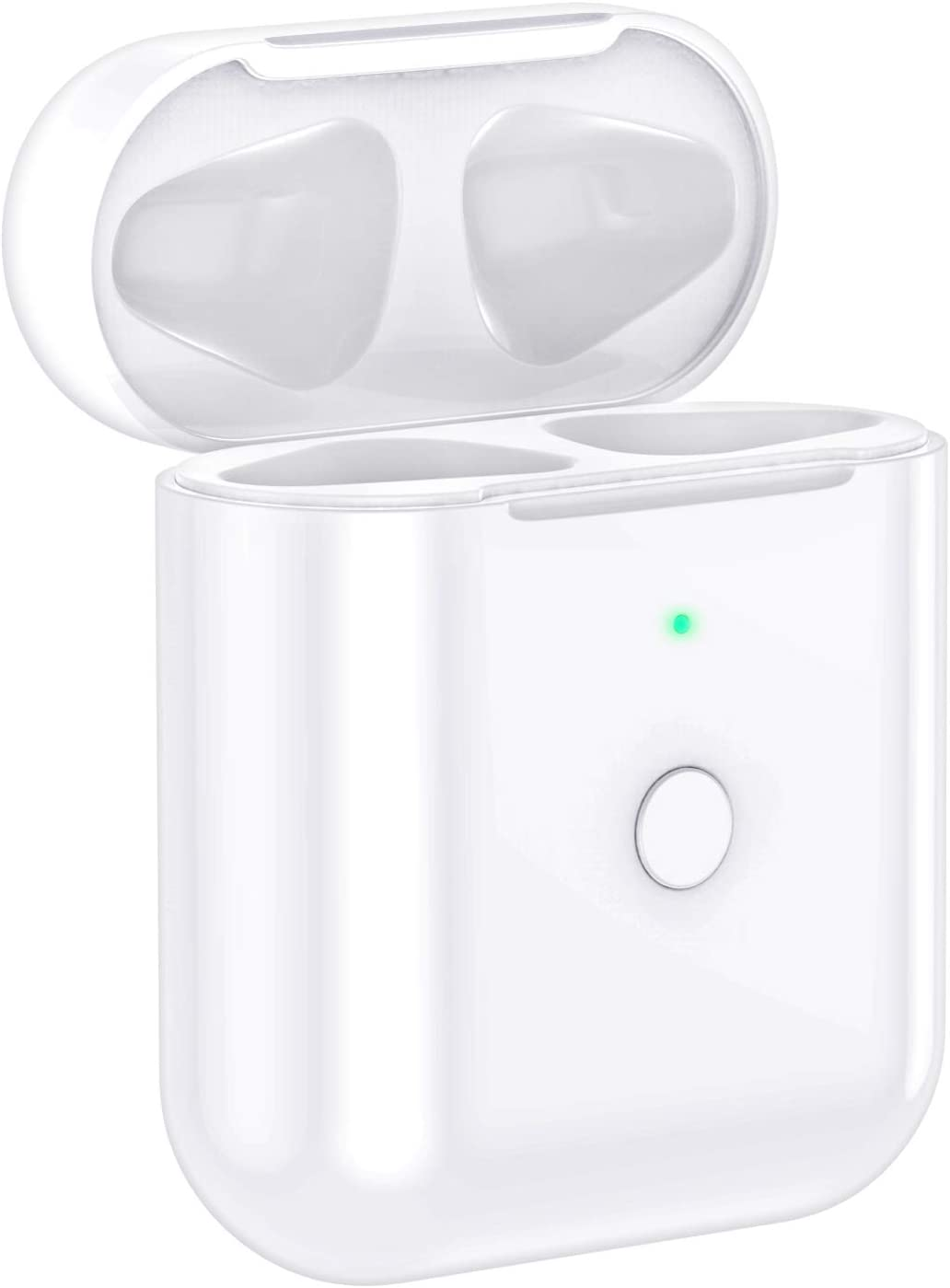TBGHz A206 Wireless Airpods Charging Case Replacement Compatiple with for Airpod 2 1, Airpods Charger Case with Bluetooth Pairing Sync Button, White, 5cm