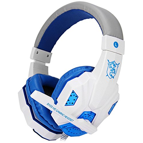 GB-Tech Over-ear Gaming Headsets Earphones Headphones with Mic Stereo Bass LED Light for PC Games