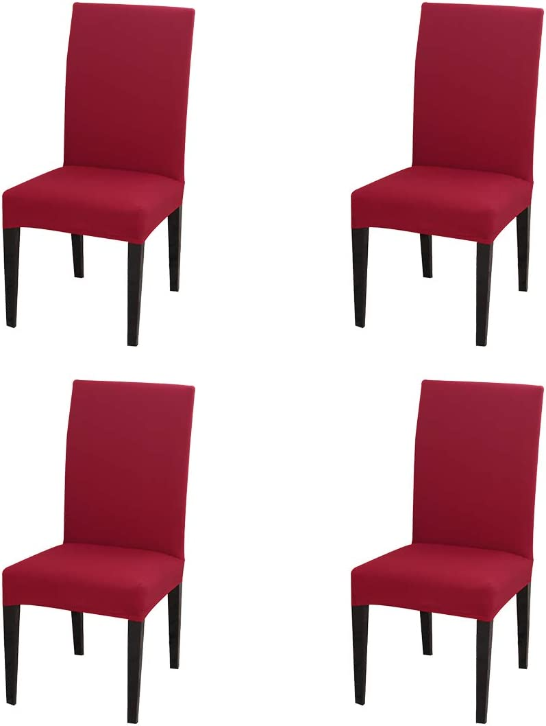 JQinHome 4 Pcs Dining Chair Slipcover, High Stretch Removable Washable Chair Seat Protector Cover for Home Party Hotel Wedding Ceremony