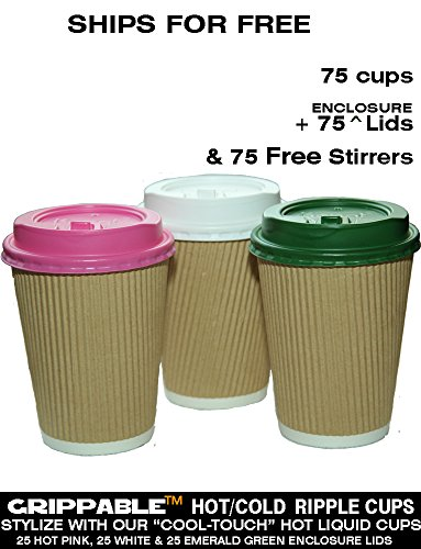 Grippable? Ripple INSULATED Hot/Cold 12OZ CUPS 3 LID COLORS & STIRRERS 75PK Disposable - LOCTITE RE-CLOSEABLE LIDS - Grip EASY - N0 Leaks N0 Sleeves - ECO-SMART - HOME OFFICE EVENTS SHIPS FREE