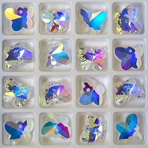 28 pcs Charms Crystal AB Glass Loose Beads Crystal Gemstone for Jewelry Making Decorations (28pcs 14mm -