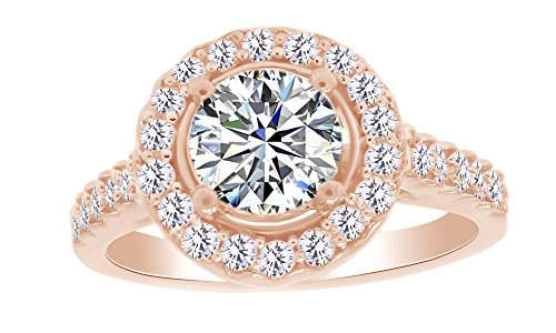 Natural Diamond & White Moissanite Halo Wedding Engagement Ring 14K Rose Gold Over Sterling Silver (1 Cttw) Ring Size-7 by AFFY