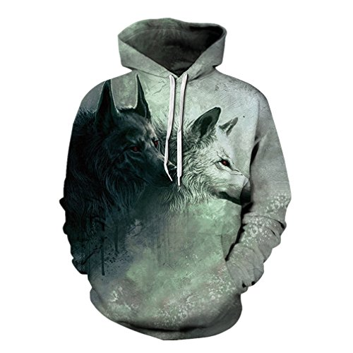 3D Wolf Print Ugly Casual Funny Creative Pullover Workout Hoodie Sweatshirts ()