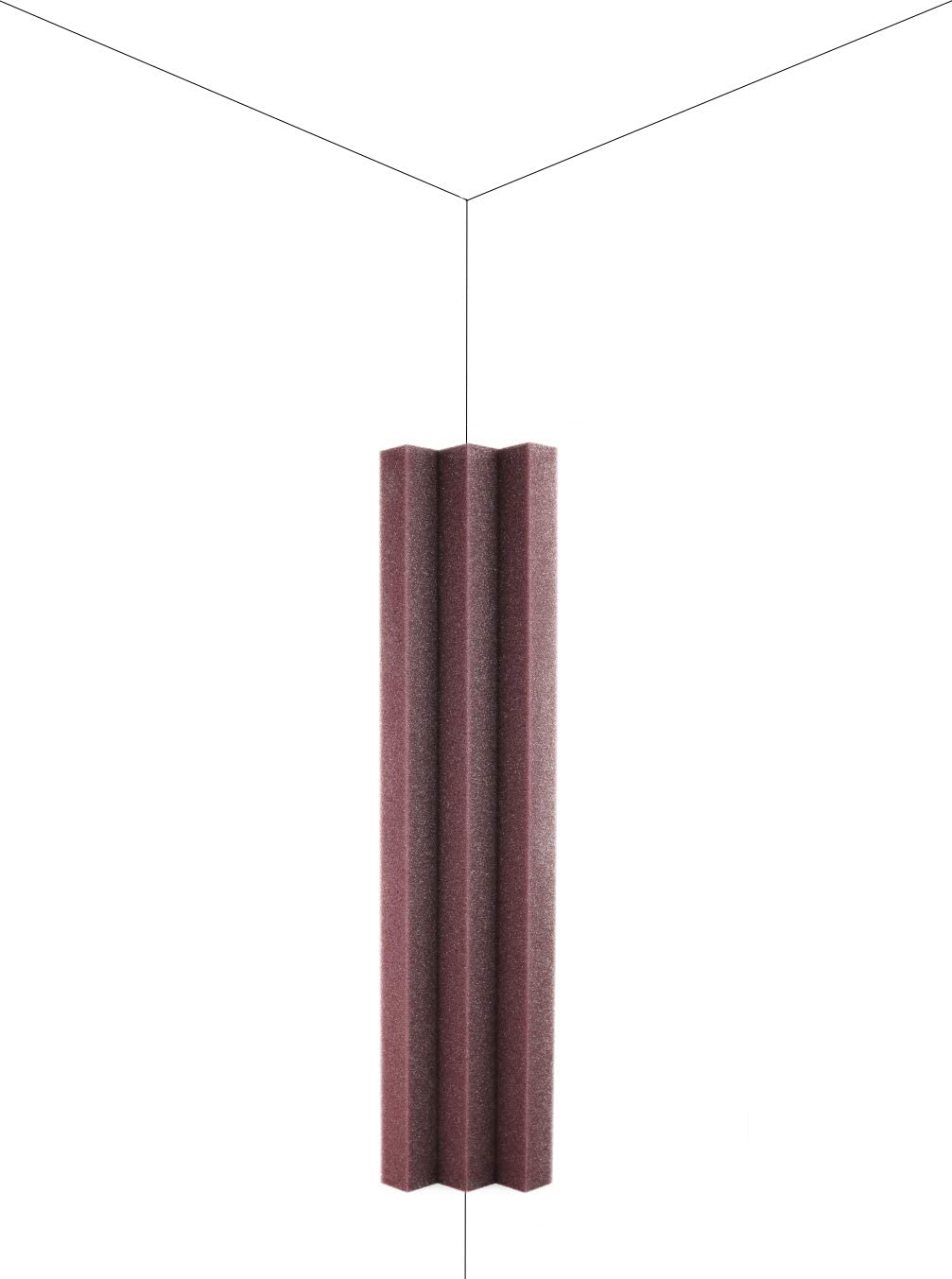 New Level Burgundy Column Acoustic Wedge Studio Foam Corner Block Finish Corner Wall in Studios or Home Theater (8 Pack)
