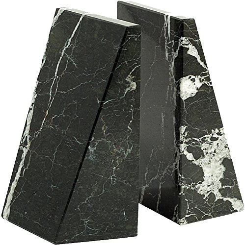 Triangle Black & White Marble Bookends by Bey-Berk B0014B9P4Q