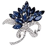 Flower Bauhinia Brooch Pin Style Delicate Rhinestone White Gold Plated Cocktail Lover Gift