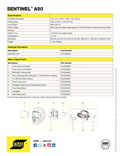 Esab Sentinel Automatic Welding A50 Helmet Hood, Part# 0700000800 - Brand New, Not In Original Packaging - Full Manufacturer's Warranty by ESAB (Image #6)