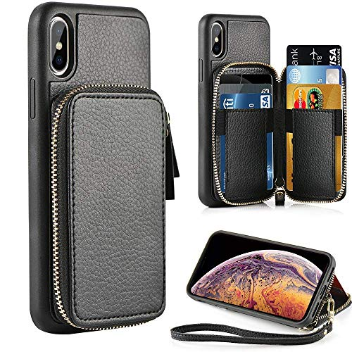 (ZVE iPhone Xs Max Wallet Case iPhone Xs Max Case with Credit Card Holder Slot Leather Wallet Zipper Pocket Purse Handbag Wrist Strap Case for Apple iPhone Xs Max - 6.5 inch 2018 - Black)