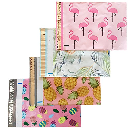 Designer PolyMailers 10x13 Bulk Variety Pack Mailing Envelope Bundle: Flamingo, Pineapple, Peacock (40 Piece Set) - Boutique Shipping Supplies - Colorful Printed Mailing Envelopes