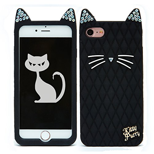 iPhone 7 Case, TISHAA Cute 3D Bling Bling Rhinestones Kitty Purry Cat Ears Cute Whiskers Protective Soft Case Skin for Apple iPhone 7 (2016) (Black)