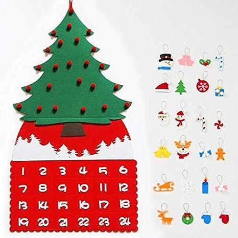 dianhai306 Albero di Natale in Tessuto Calendari dellavvento Calendario Natalizio Feltro Albero di Natale Calendario dellavvento Regali di Natale con Tasche e Ornamenti
