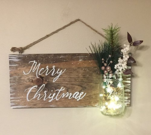 Rustic Snowy Christmas Wood Sign, Mason Jar with LED Fairy Lights, Floral Accent, Farmhouse Rustic Decor, Wall Sign, Home Decor Review