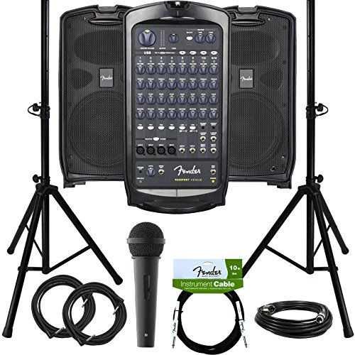 Fender Passport Venue Portable PA System Bundle with Microphone, Compact Speaker Stands, XLR Cable, and Instrument (Fender Microphone Stand)