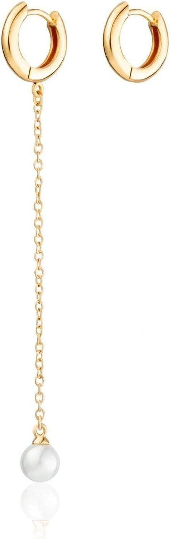 Scream Pretty – Pendientes de aro chapados en oro de 18 quilates con perla y perla de cristal único