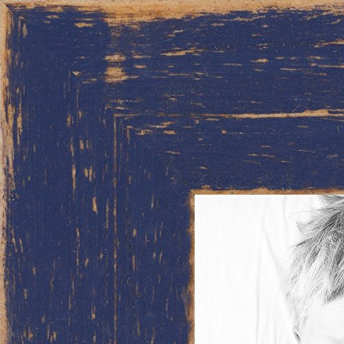 ArtToFrames 24x36 inch Distressed Navy Blue Wood Picture Fra