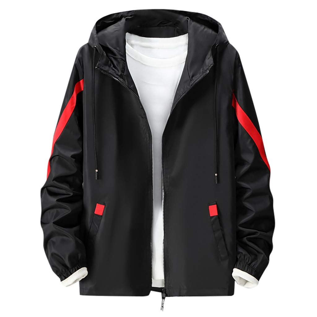 Amandaz Clothes Splicing Hooded Thin Jacket Sports Jacket Men Outdoor Outwear Coat Winter Youth Warm Pocket Windbreaker Black by Amandaz Clothes
