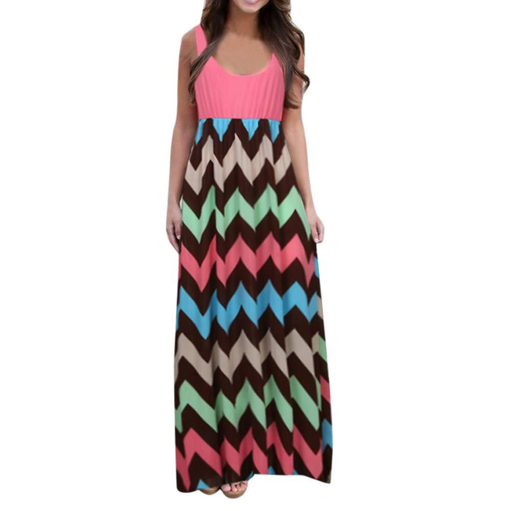 iLUGU Women's Striped Floral Print 3/4 Sleeve Tie Waist Long Maxi Dress with Pockets