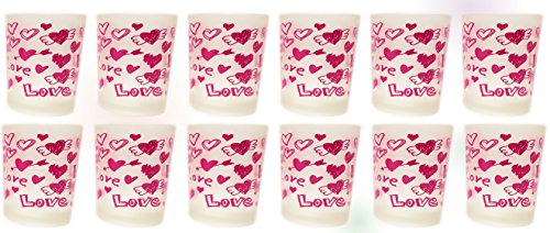 12 Fuchsia Valentines Frosted Candle (Pink Teddy Bear Candle Holder)