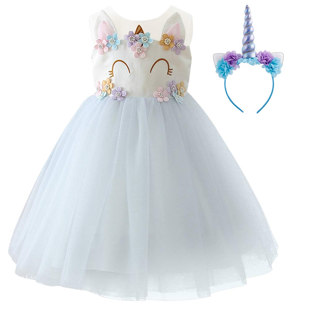Girls Unicorn Dress up Costume Princess Dressing Gown Tulle Tutu Skirt Headband Halloween Birthday Party Outfits for Kids Pageant Wedding Casual Photography Props Cosplay 2Pcs Set Light Purple 9-10Y