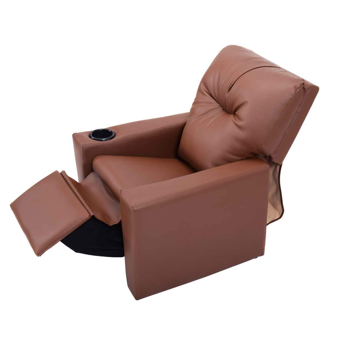 Kids Recliner with Cup Holder Brown Leather Sofa Chair Recliners Chairs for Children by GentleShower