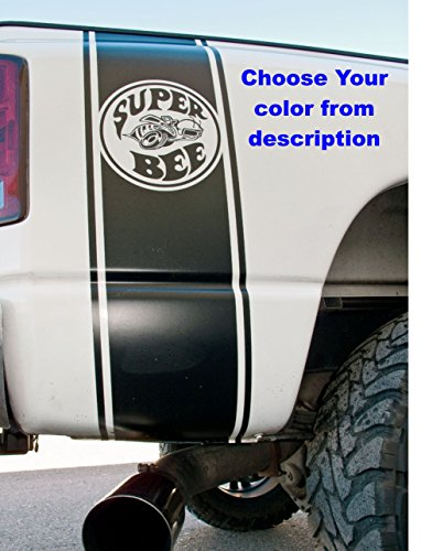 Super Bee Stripes - 2002-2018 Dodge Ram 1500 2500 Black Rear Side Bed Decals, Super Rumble Bee Stripes Vinyl Stickers, 5.7 L auto Graphics SRT hellcat, Mopar, Hemi Rebel