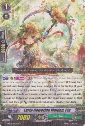 Cardfight!! Vanguard TCG - Early-flowering Maiden, Pia (G-BT04/043EN) - G Booster Set 4: Soul Strike Against The - Deals Card Nectar