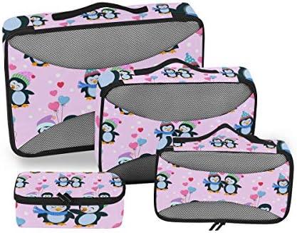 ピンクペンギンラブ荷物パッキングキューブオーガナイザートイレタリーランドリーストレージバッグポーチパックキューブ4さまざまなサイズセットトラベルキッズレディース
