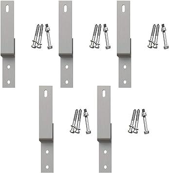 Soporte de pared de acero níquel satinado para puerta corredera de ...