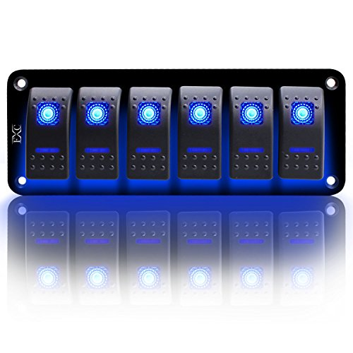 FXC Rocker Switch Aluminum Panel 6 Gang Toggle Switches Dash 5 Pin ON/OFF 2 LED Backlit for Boat Car Marine Blue ()