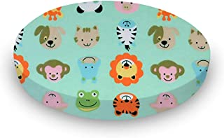 product image for SheetWorld 100% Cotton Flannel Round Crib Sheet, Animal Faces Aqua, 42 x 42, Made in USA