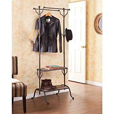 "Waynesburg Entryway Shelf/Hall Tree, Brown - Hanging bars: 23""W x 5""D x 67""H (depth from center); hooks: 1""W x 5""D x 5.25""H Shelves: 23""W x 12.25""D x 14.25""H (bottom), 23""W x 10.25""D x 41.5""H (top) Supports up to 30 lb (per shelf), 10 lb (per bar), 5 lb (per hook) / Aged metal for a charming style - hall-trees, entryway-furniture-decor, entryway-laundry-room - 51niJiVWMLL. SS400  -"