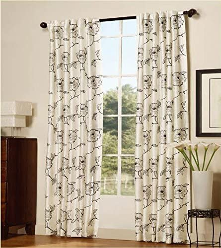 Serenta 2 Piece Embroidered Magnolia Curtains, 54 x 96 , White