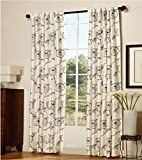 Home Soft Things Serenta 2 Piece Embroidered Magnolia Curtains, 54″ x 96″, White For Sale